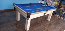 Mesa Tentação de Bilhar Cor Noce Tecido Azul Mod. BASE8487