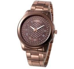 a632df3d862 Relógio Feminino Quartz Geneva com Pedrinha de Zirconia 100% Novo