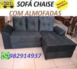 Preço Bom+Frete Gratis!!Sofa Chaise com Almofadas Novo Apenas 649,00