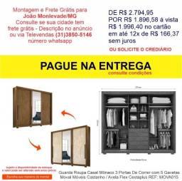 Guarda Roupa Casal Mônaco 3 Portas 5 Gavetas Moval Móveis Castanho / Avela Flex Cestaplus