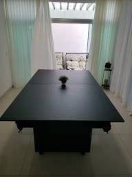 Mesa Encanto e Jantar Cor Preta Tecido Laranja Mod. NZYN2224