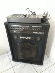 Caixa amplificada, mesa de som e microfone com fio headset