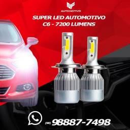 Par de Super led C6 6000k 7200 lumes Branco Automotivo