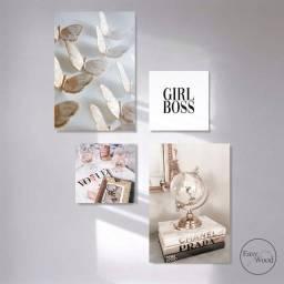 Kit 4 Quadros Decorativos Girl Boss Para Sala Quarto Mdf