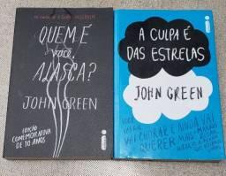 Dois livros de John Green, A culpa é das estrelas e Quem é você Alasca?