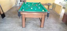 Mesa Tentação de Bilhar Cor Imbuia Tecido Verde Mod. BASE3557