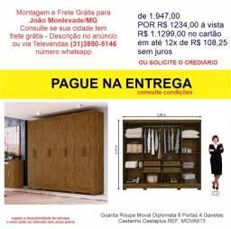 Guarda Roupa Moval Diplomata 8 Portas 4 Gavetas Castanho Cestaplus
