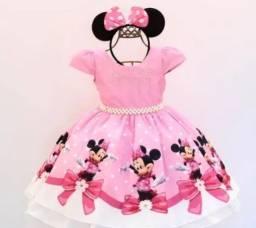 Vendo vestido minnie rosa novo