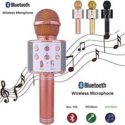 Microfone Karaokê Bluetooth com Controle Mixer <br>
