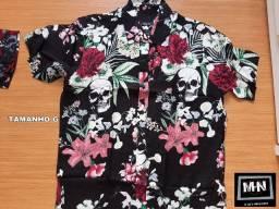 Camisa floral masculina P M G e GG