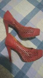Sapato Lindo Vermelho Laura Prado Salto Alto - Tamanho 35
