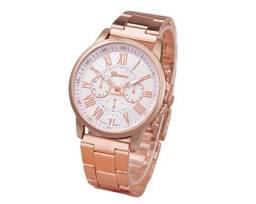 ecc406940a1 Relógio Feminino Geneva Cor Branco ou Preto 100% Novo