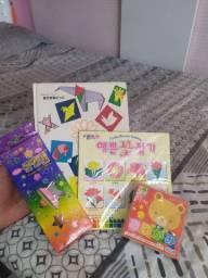 Livro japonês + folhas apropriadas para origami