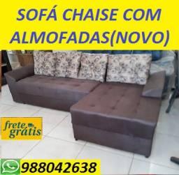 Preço Excelente!!Sofa Chaise +3 Lugares Novo Com Almofadas Apenas 799,00