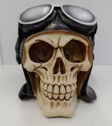 Cranio Caveira Aviador em resina Decoraçao