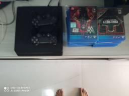 PS4 com 20 jogos e 2 controles