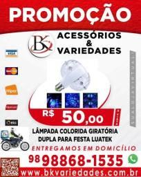 Lâmpada Colorida Giratória Dupla Para Festa Luatek-LK-999- (Loja BK Variedades)- Promoção