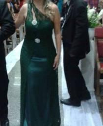 Vestido festa verde musgo