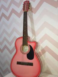Violão da marca clave na cor rosa