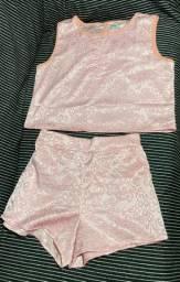 Conjunto cropped e shorts M
