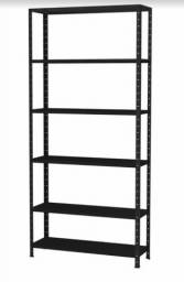 Estante / Armário de Aço preta e branca 40 cm 6 bandejas Multi-uso