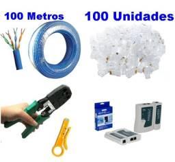 KIT Cabo Lan 100 Metros Alicate RJ45/RJ11 Testador de Cabo de Rede + 100 Rj45