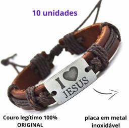 10 Pulseiras Couro Ajustável Original Eu Amo Jesus-Promoção Atacado