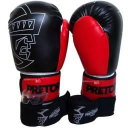 Kit Muay Thai Boxe Kickboxing Luvas Bandagens Bucal Pretorian Promoção Somos Loja