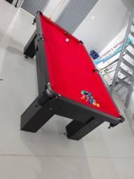 Mesa Charme Redinha Cor Preta Tecido Vermelho Mod. BSAE9441