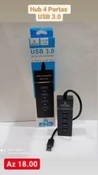 Hub Cabo Usb 3.0 Extensão 4 Portas High Speed Hd Pen Drive