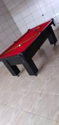 Mesa Charme Quatro Pés Cor Preta Tecido Vermelho Mod. BSAE3447