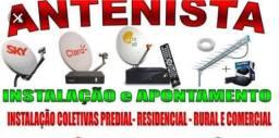 Instalação de antenas e receptores para vários satélites