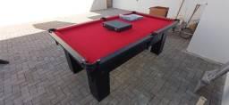 Mesa Charme de Bilhar e Jantar Cor Preta Tecido Vermelho Mod. BSAE9734