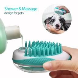 2 em 1 escova de limpeza e massageadora pet com aplicador de shampoo integrado