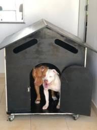 Casa reforçada para cachorros MDF náutico e rodas emborrachadas