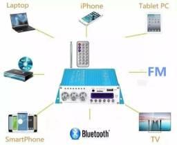 Amplificador digital 40W RMS Bluetooth integrado + receiver + controle remoto!