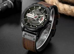 9ca384f819d Relógio masculino curren original pulseira de couro de luxo importado