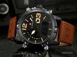 378ae36d884 Relógio Naviforce® 9095 Masculino Couro - Marrom   3x Sem Juros + Frete  Grátis