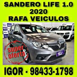 RENAULT SANDERO LIFE 1.0 FLEX 2020 NA RAFA VEICULOS FALAR COM IGOR qqsd