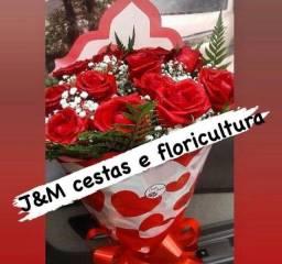 Buquês chocolate cestas pelúcia flores