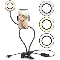 High Light led com suporte para celular articulável