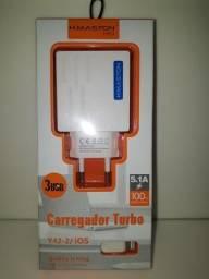 Carregador H'maston 5.1 A - 3 USB ( Turbo ) ( P/ Iphone )