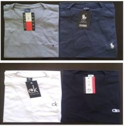 Sacoleiras - 120 Camisetas 26.1 Gola Careca Pré Amaciada - Frete Grátis
