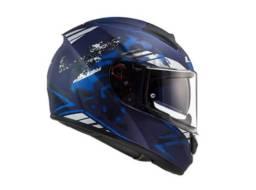 Novo Capacete Ls2 Ff397 Vector Evo Stencil Fosco Azul