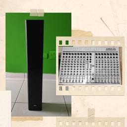 Caixa Tipo coluna LINE array e Mesa de som