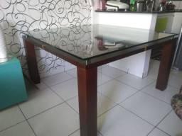 Mesa de madeira com tampo em vidro 15mm