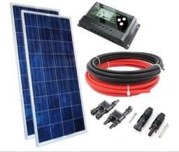 Kit Painel Solar Placa Célula 150w Controlador Cabo Conector
