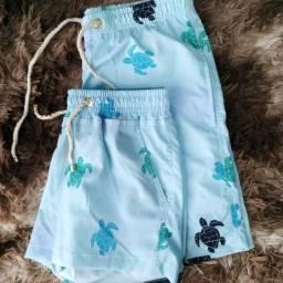 Shorts kit casal moda praia estilo mauricinho - Diversas cores e estampas