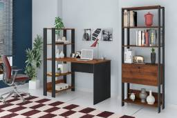 Escrivaninha e estante Match preto e pinho