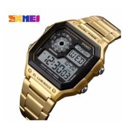 Relógio Skmei Caixa Pulseira Metal Cores Dourado Preto Prata G-shock Cassio